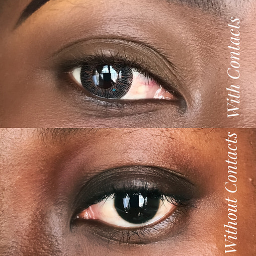 Eyes with and without contact lenses which help eyes pop when wearing makeup
